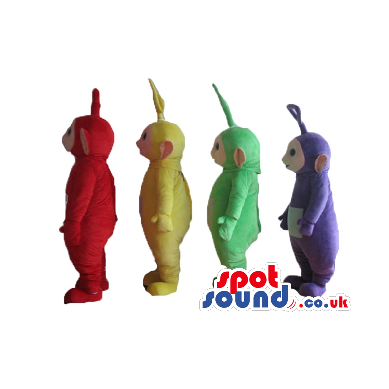 Red, yellow, green and violet tele tubbies - Custom Mascots