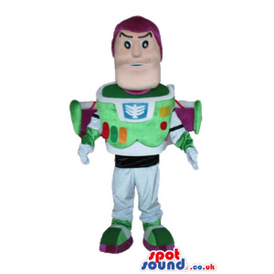 Buzz lightyear with a white suit decorated in green, and purple