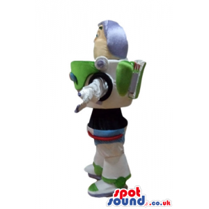 Buzz lightyear with a suit decorated in black and green -