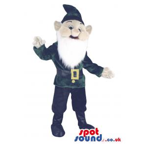 Dwarf mascot with peculiar cap with long beard and in green -