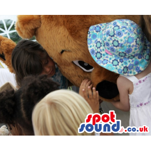 Brown Teddy Bear Mascot With White Belly And Black Nose -