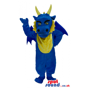 Customizable Blue Dragon Plush Mascot With Tail And Horns -