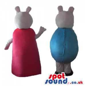 Peppa wearing a red dress and black shoes and george wearing a
