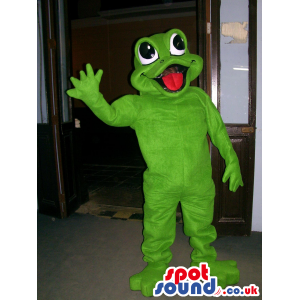 Plain Green Frog With Red Tongue And Big Popping Eyes - Custom