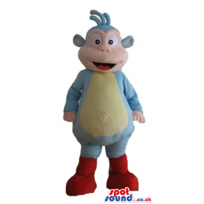 Blue monkey with a yellow belly and red feet - Custom Mascots