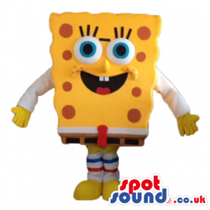 Sponge bob wearing brown trousers, a black belt and shoes