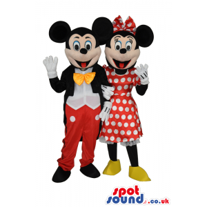 Mickey And Minnie Mascots With Classic Red And Black Garments -