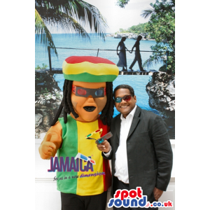 Rastafarian Jamaican Reggae Human Mascot With Dreadlocks -