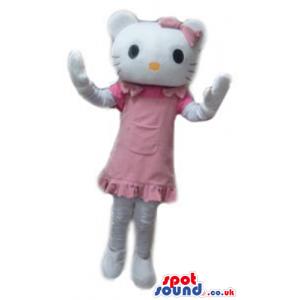 Hello kitty wearing a pink dress - Custom Mascots