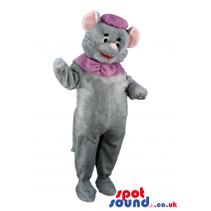 Grey Circus Elephant Mascot With Purple Hat And Neck Bow -