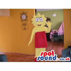 Lisa Simpson Yellow Tv Character Mascot With Red Dress - Custom