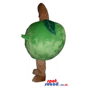 Green apple with beige arms and legs - Custom Mascots