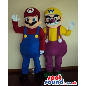 Super Mario and his friend with blue and purple jumper - Custom