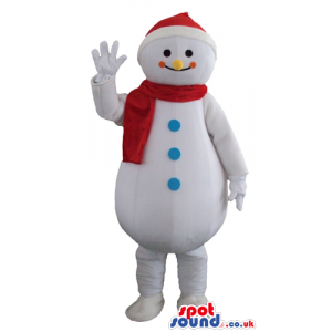 Smiling snowman with yellow nose and orange cheeks wearing a