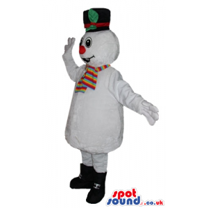 Smiling snowman with big eyes and a big red nose wearing black