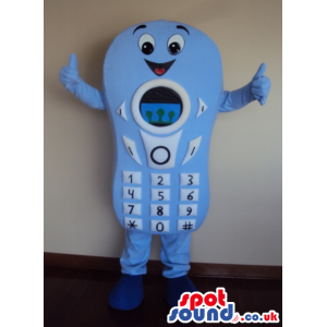 Blue Mobile Cell Phone Mascot With Big Keys And Face - Custom