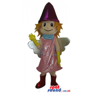 Smiling fairy wearing a pink dress, a violet hat, yellow gloves