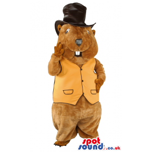 Brown Groundhog Animal Mascot With Black Top Hat And Yellow