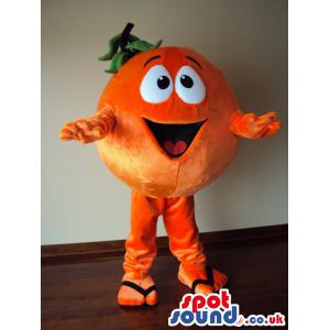 Cute little orange mascot with slippers happy as always -