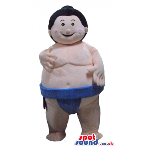 Fat man with black hair wearing blue sumo clothes - Custom