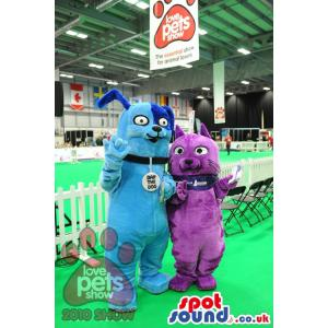 Blue and purple dap the dogs mascots from pet shop - Custom