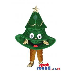 Christmas tree mascot in brown pant and in gold colour gloves -