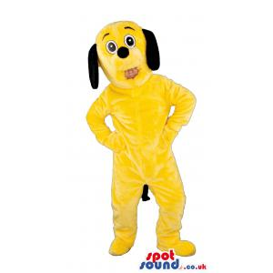 Yellow snoopy dog mascot looking surprised with his open mouth