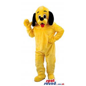 Yellow snoopy dog mascot saying hi by waving his hands - Custom
