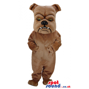 Brown Bulldog Pet Mascot With Pointy Teeth And Bent Ears -