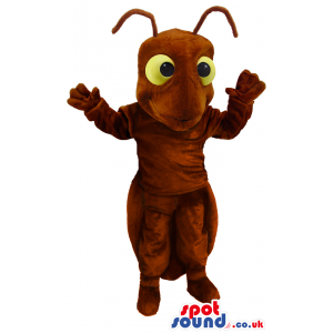 Brown Ant Mascot With Antennae And Big Yellow Eyes - Custom
