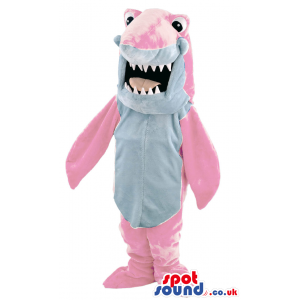 Pink Shark Mascot With Jaws And Big Round Ball Eyes - Custom