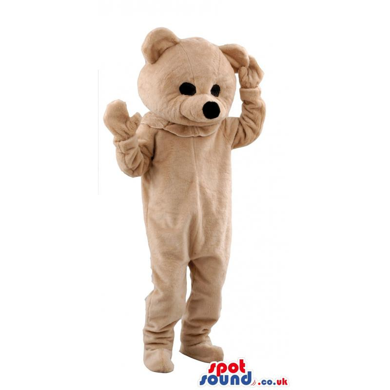 Brown teddy bear mascot thinking throwing his hands on the air