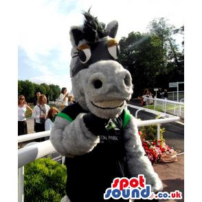 Big grey happy donkey mascot with a black colour t-shirt