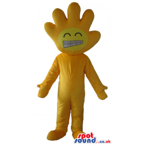 Yellow smiling hand with a yellow body, arms, legs, hands and