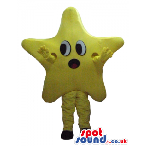 Yellow star with round eyes and a round red mouth, yellow arms