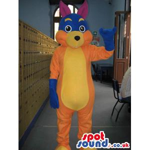 Colourful squirrel mascot with blue gloves in his hands -