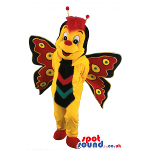 Customizable Yellow Butterfly Insect Plush Mascot With Red Hair
