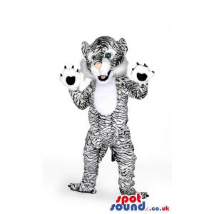 Black and white tiger mascot with his paws showing - Custom
