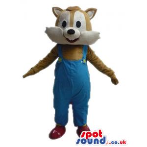 Brown squirrel wearing blue gardener trousers - Custom Mascots