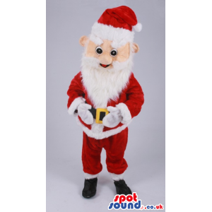 Santa Claus Mascot Cartoon Character With White Beard And Red