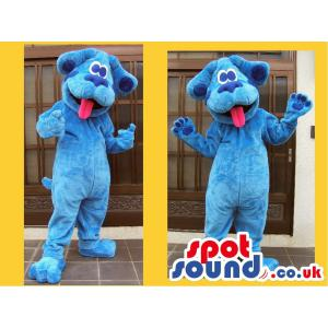 Blue lovely doggy mascot putting his pink tongue out - Custom