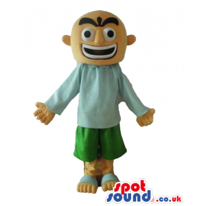 Bald man with a big mouth and big eyes wearing a light-blue