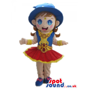Girl with brown hair wearing a blue hat, blue shoes, a red mini