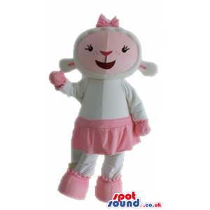 White sheep wearing a pink skirt, shoes and gloves - Custom