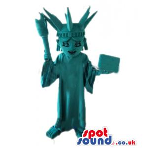 Turquoise mascot costume of the statue of liberty - Custom