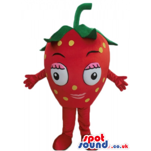 Smiling strawberry with big eyes, red arms and red legs -