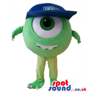 Single eyed green monster with a big black eye, a big mouth