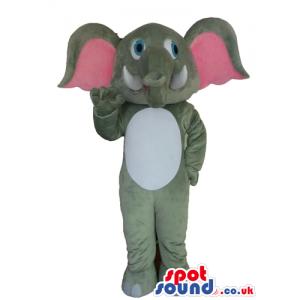 Grey elephant with pink ears - Custom Mascots