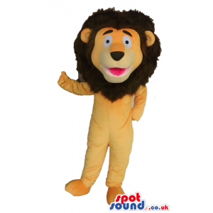 Yellow lion with brown hair - Custom Mascots