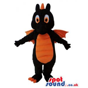 Black dragon with orange eyes, wings, belly and claws - Custom
